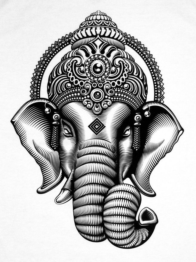 Unique Black Ganesha Head Tattoo Stencil