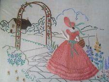 Vintage Irish Embroidery Panel Crinoline Lady in Orange Dress Hollyhock Garden - $16.64