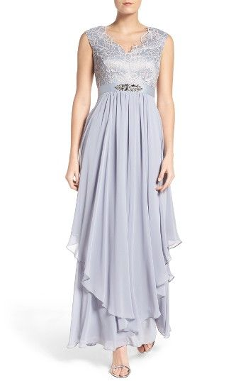 1920s Prom Dresses for Sale 2017 Womens Eliza J Embellished Lace  Chiffon Gown Size 16 - Blue $248.00 AT vintagedancer.com