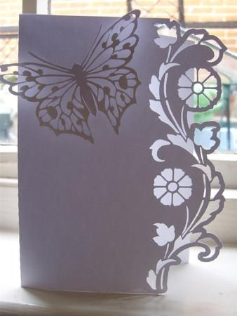 BORDER EDGE CARD 19 with Butterfly SVG on Craftsuprint designed by Clive Couter - svg files