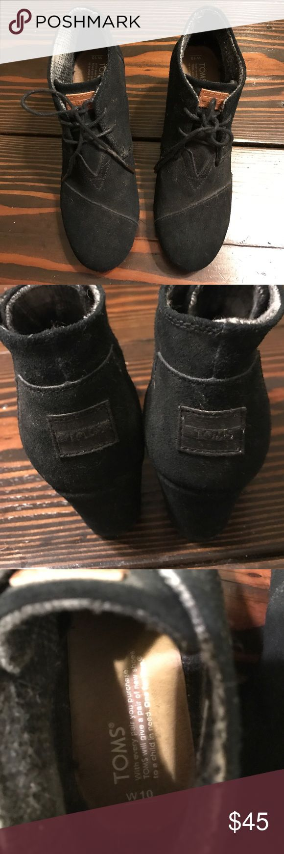 Tom black suede wedge boots Very cute black wedge boots. Perfect for any winter or fall outfit. Only worn once!! Like new.  Looking to get rid of some stuff make me any offer!:) TOMS Shoes Heeled Boots