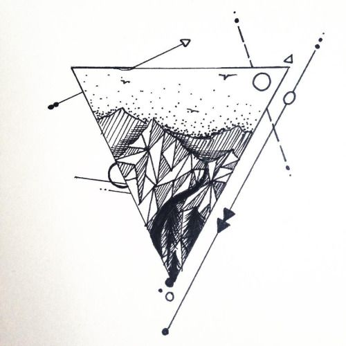 Triangle mountain tattoo design just finished