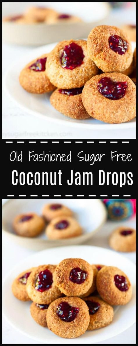 Easy and fun to make, sugar free coconut jam drops made with spelt flour and delicious rich sugar free ripe raspberry jam. Less than 100 calories per serve!