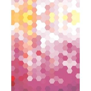 Pink and Yellow Hexagons Canvas Wall Art