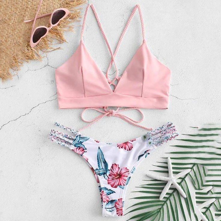 Bikini 2019 Sexy WWomen Bikini Cut Flower Two Piece Swimsuit Pushups Swimwear Beachwear Off shoulder swimsuit female Y