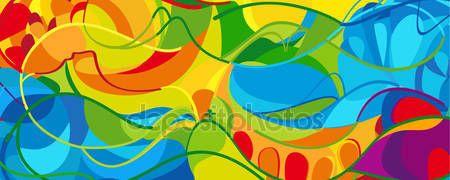 Download - RIO 2016 Summer. Olympic games 2016 Summer wavy landscape. Brazil Summer colorful pattern. Summer wavy illustration. Vector — Stock Illustration #114722616