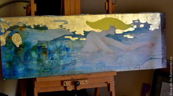 """Купить """"Дотронуться.."""" - разноцветный, картина, подарок девушке, картина для интерьера, акварель, акварельная картина"""