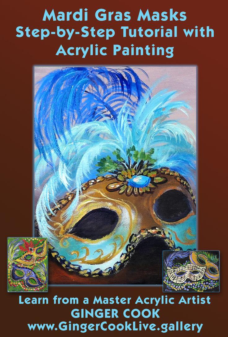 Watch mardi gras masks a step by step acrylic painting for Step by step acrylic painting tutorial