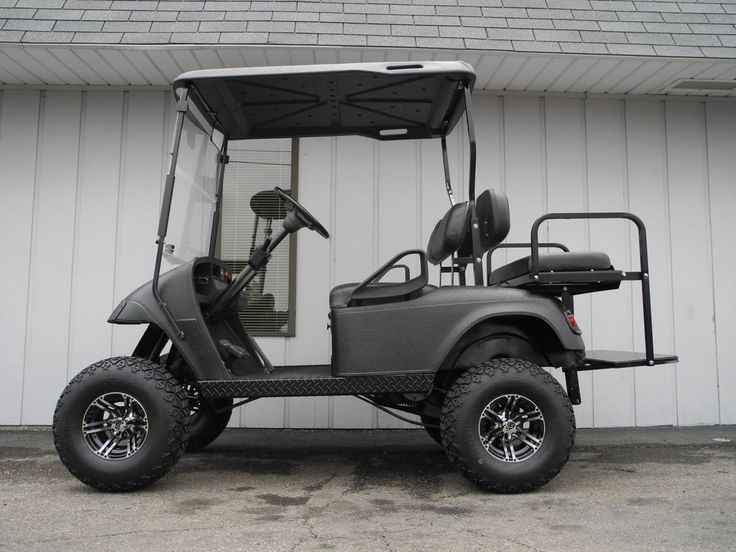 This 1997 E-Z-GO is street ready with premium lights, folding windshield, and rear view mirror. But it also features a 5-inch lift, 22-inch all-terrain tires, black Line-X body (and top), rear flip seat, black diamond plate trim, and more for only $4390.   #EZGO #gasgolfcar #customgolfcar #liftedgolfcar #LineX #streetready #specialops #forsale #PES #Vandalia
