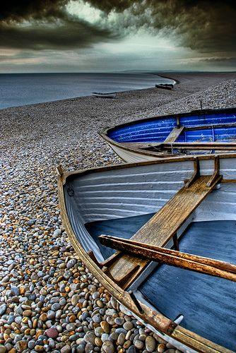 range of blues: Pebble Beaches, Wooden Boats, Stormy Sky, Blue, Colors, Beautiful, Storms, Photo, Rocks