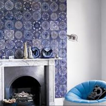 Blue holland tile fireplace