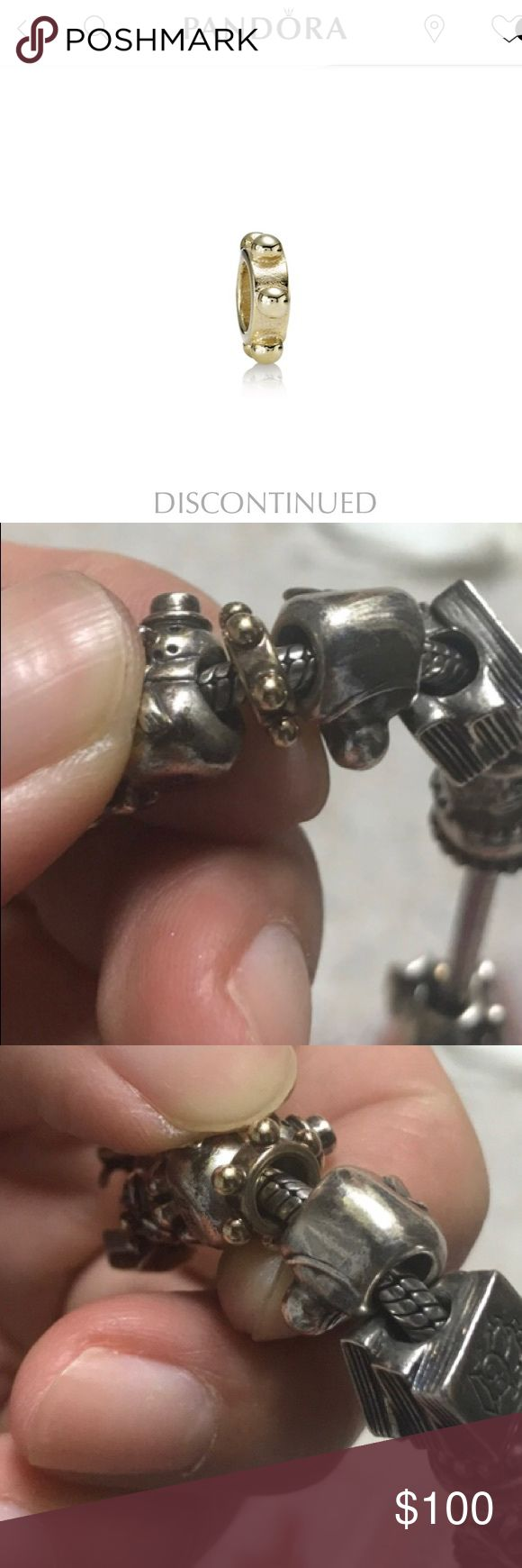 Discontinued Authentic pandora gold charm Used but great addition to any bracelet. Item is now discontinued. Pandora offers lifetime free jewelry cleaning, so charm just needs to be cleaned to its original shine. Open to offers Pandora Jewelry