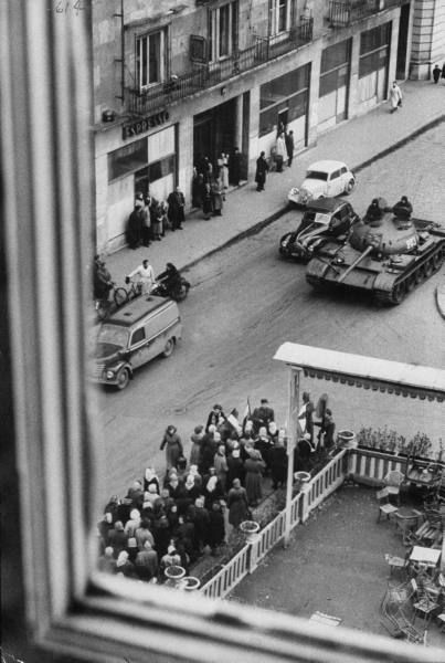 Hungarian Revolution of 1956. Soviet tank in Budapest.