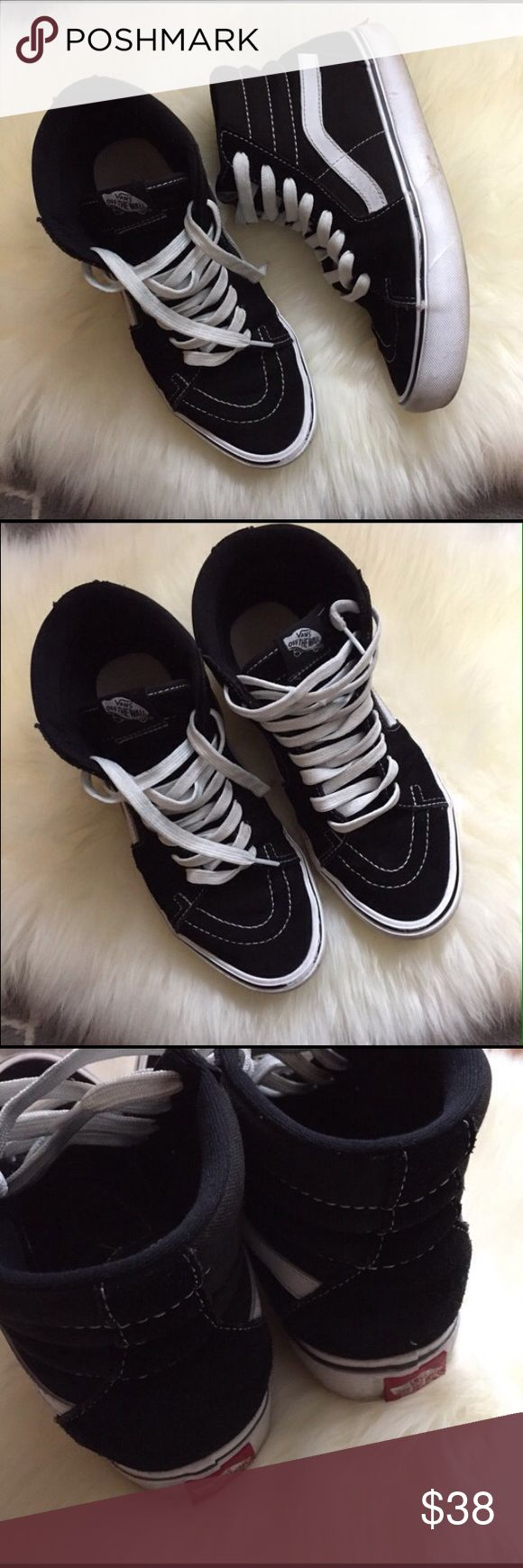 High Top Sk8 Hi Vans Used but in good condition in black and white canvas size 8 in men's and 9.5 women's *$28 onⓂ️ Vans Shoes Sneakers