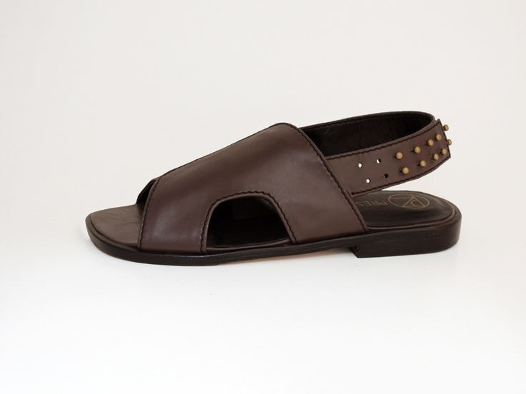 Mandal in chocolate leather with brass stud feature