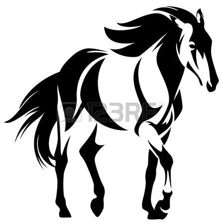 sauvage cheval noir et contour blanc dessin vectoriel mustang Banque d'images