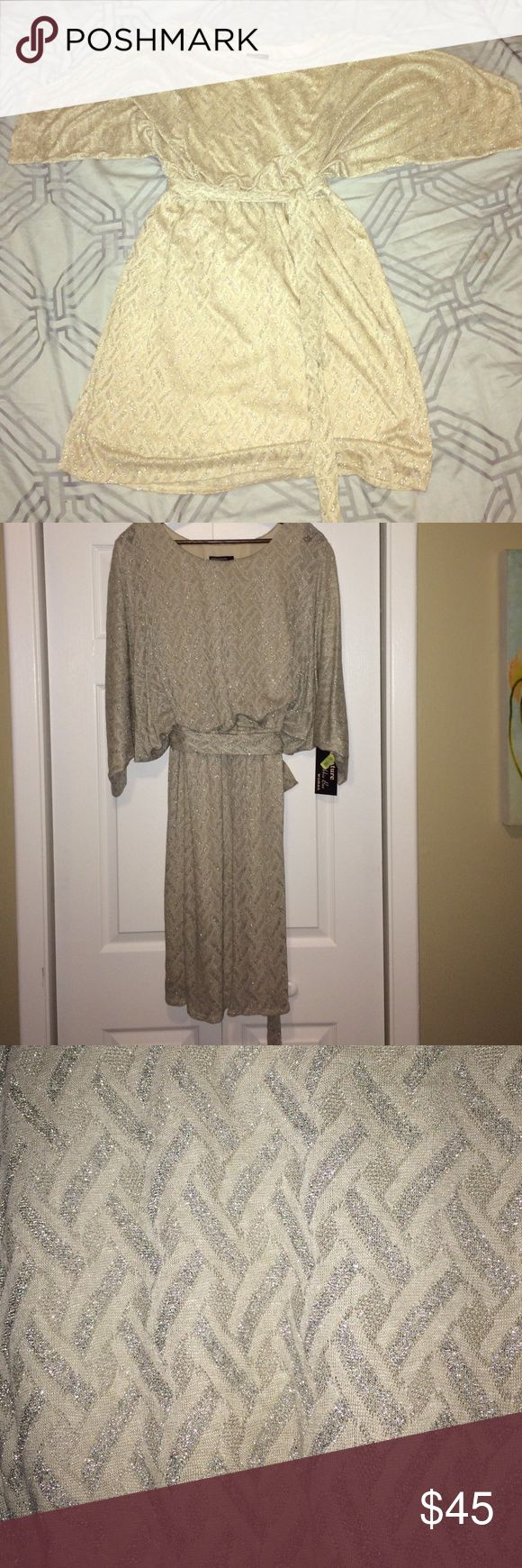 Dolman Sleeve Metallic Winter Dress - 2X NWT. Very flattering. The top part almost feels like wearing a sweatshirt. It's hard to tell from the pics, but very modern looking in person. Definitely doesn't look mother of the bride! Dillards Dresses