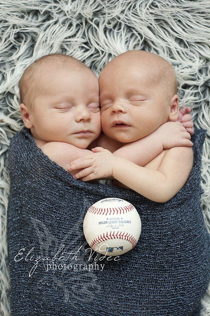 Newborn Twin Boys Pose Cleveland Indians Baseball    Photography by Elizabeth Videc  www.facebook.com/elizabethvidecphotography