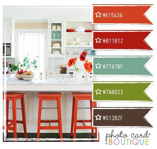 Terra cotta red blue green and brown color schemes Kitchen and living room color schemes