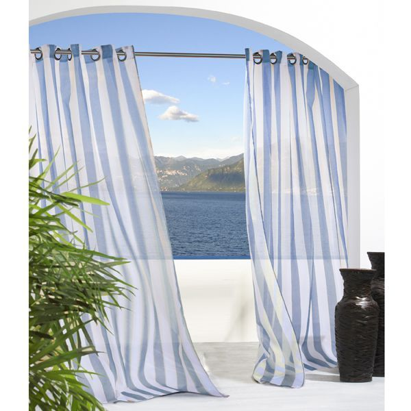 The Escape outdoor curtain has a vertical stripe sheer pattern and is available in several colors and sizes. They are made of 100 polyester and are fade-resistant, water-repellent, mildew-resistant and machine washable.Each panel has 14'' side hems and a 14'' bottom hem with 1.5'' diameter stainless steel grommets for hanging.
