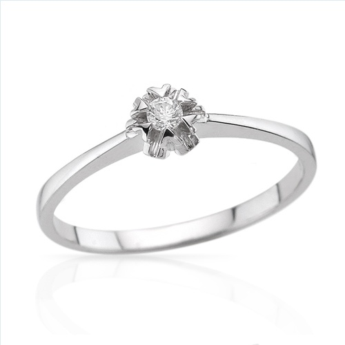 $159.00  Irresistible Brand New Solitaire Ring With Genuine  Clean Diamond in 14K White Gold- Size 7 - Certificate Available.