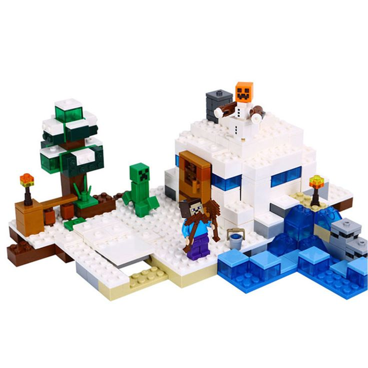 338pcs New Brand Compatible The Snow Hideout Building Bricks Kit My World Figures Blocks Toy Playmobil #Affiliate