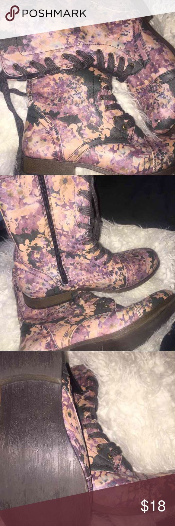 Floral combat boots Pink purple and blue gray pastel floral pattern. Purchased from target. Worn once great condition Xhilaration Shoes Ankle Boots & Booties