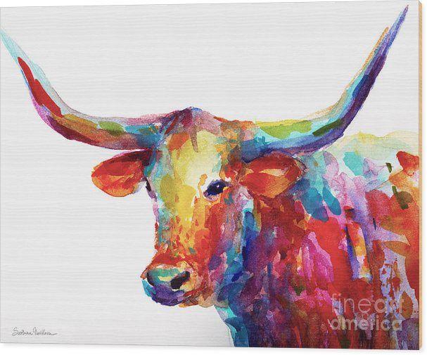 Long Horn Wood Print featuring the painting Texas Longhorn Art by Svetlana Novikova