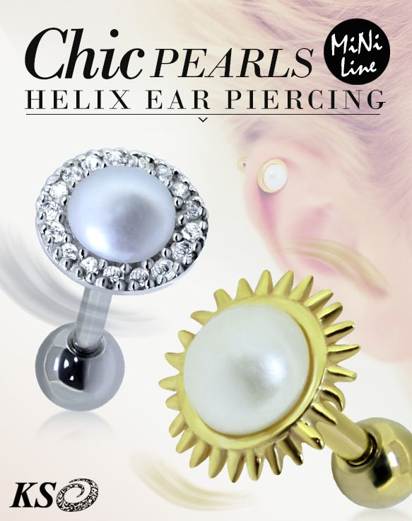 Pearls Upper Helix Ear Piercing from KS. Body Piercing and Wholesale Piercing. Body Jewelry, Silver Jewelry.