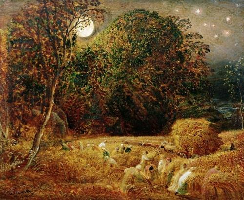 """Samuel Palmer """"Harvest Moon"""" Dit schilderij spreekt mij aan omdat het zo licht is, het lijkt niet de nacht maar het geeft een heel vrolijk beeld , de kleuren zijn zo mooi vooral van de bomen en geeft een heel goed herfst gevoel."""