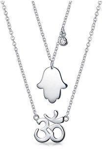 Bling Jewelry Cz Hamsa Hand Om Spiritual Pendant Sterling Silver Necklace Set.