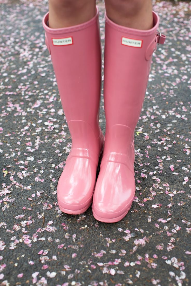 Hunter boots in pink