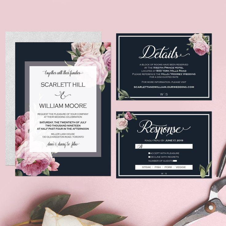 Printable Wedding Invitation Watercolor Floral Wedding Suite