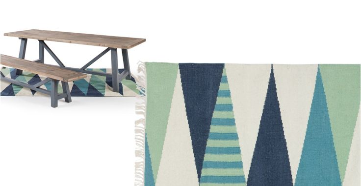 Braid flachgewebter Teppich 170 x 240 cm, Aqua- und Navyfarben | made.com