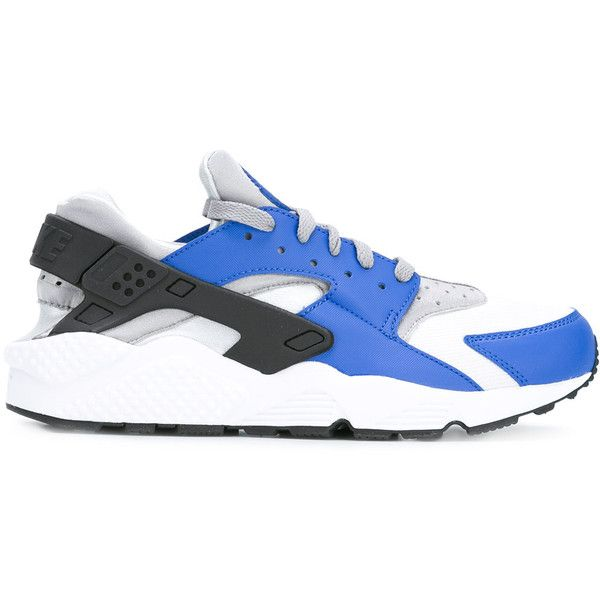 Nike Air Huarache sneakers ($195) ❤ liked on Polyvore featuring men's fashion, men's shoes, men's sneakers, grey, mens round toe shoes, nike mens shoes, mens gray shoes, nike mens sneakers and mens grey shoes