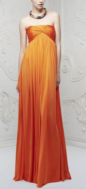 orange dress: Orange, Bridesmaid Dresses, Alexandermcqueen, Fashion Week, Gowns, Spring Summer, Resorts 2013, Mcqueen Resorts, Alexander Mcqueen 2013