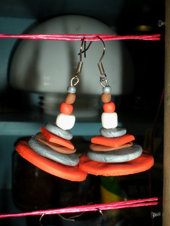 Polymer clay handmade abstract circle earrings by Inspiration2Art, $12.00