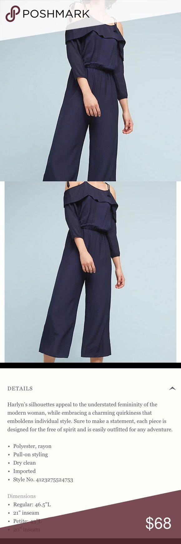ANTHRO Open Shoulder Jumpsuit by Harlyn Gorgeous feminine piece!Pleated neckline details and sleeves. Navy/Marine color. New with tags Anthropologie Pants Jumpsuits & Rompers