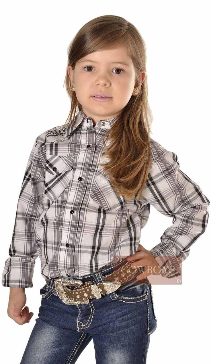 camisa Infantil Feminina Xadrez   camisa feminina infantil nas cores preta e branca. Ideal para a pequena cowgirl que adora andar sempre na moda country.