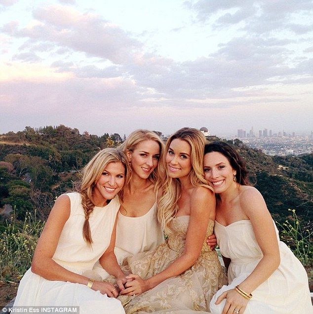 Behind-the-scenes: One of her nine bridesmaids, Kristin Ess, who is also featured on the cover of the magazine, shared this Instagram photo of Lauren and her friends during the shoot in Los Angeles