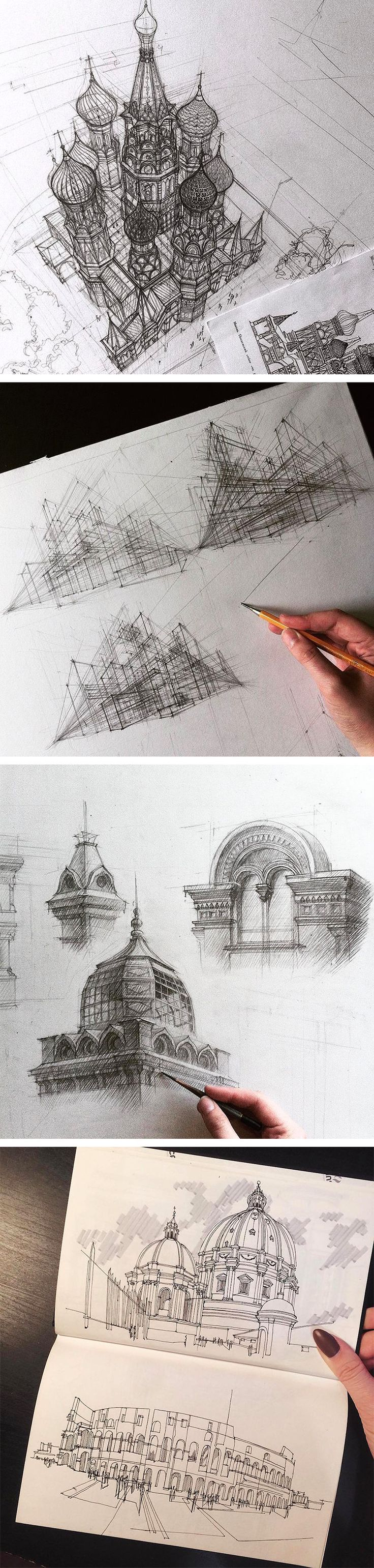 Hand Drawn Architectural Sketches by Adelina Gareeva. I really need to find a tutorial on 3-point perspective…