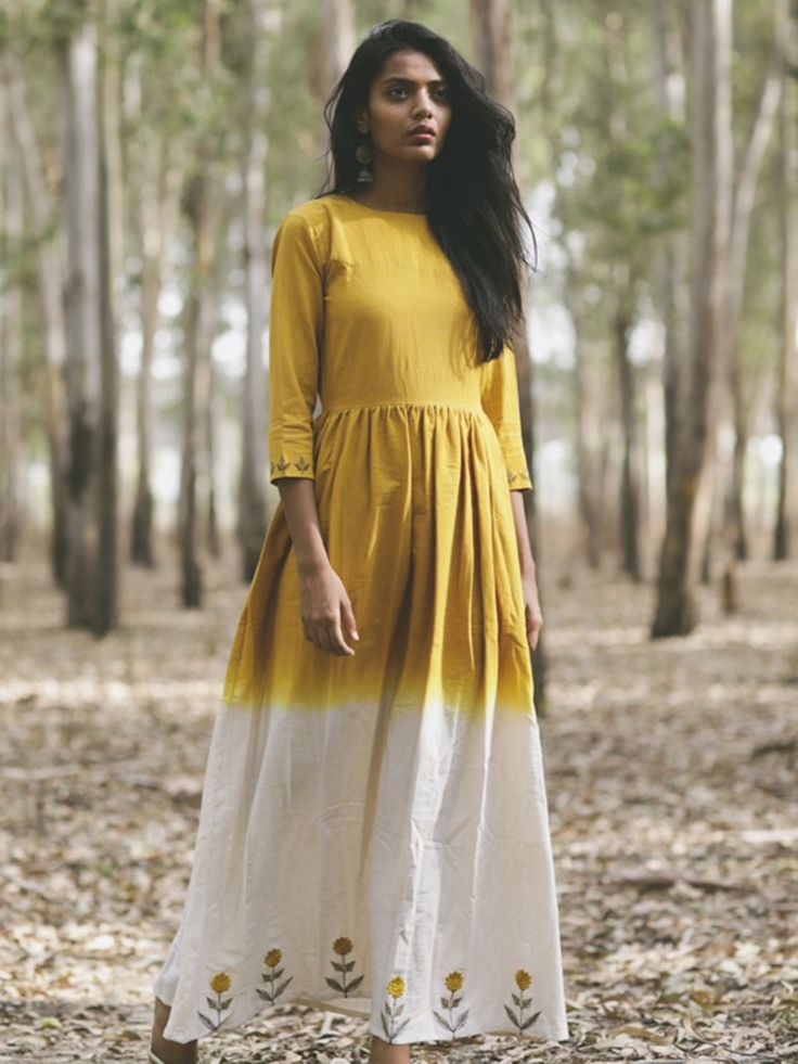Mustard Yellow Khadi Embroidered Flared Dress