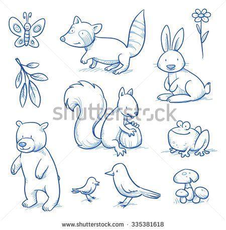 Cute cartoon forest animals. Bear, squirrel, rabbit, frog, raccoon, birds. Hand drawn doodle vector illustration.
