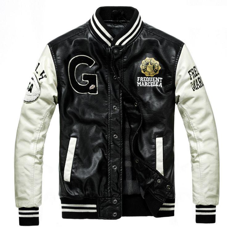 Baseball Leather Jacket Men Black White College Jaqueta Couro Men's PU Leather Jacket High Quality Autumn Winter Coat