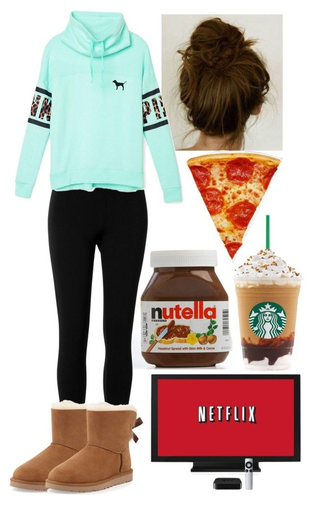 """Common white girl"" by jaycieraye ❤ liked on Polyvore featuring Max Studio, Victoria's Secret PINK and UGG Australia"