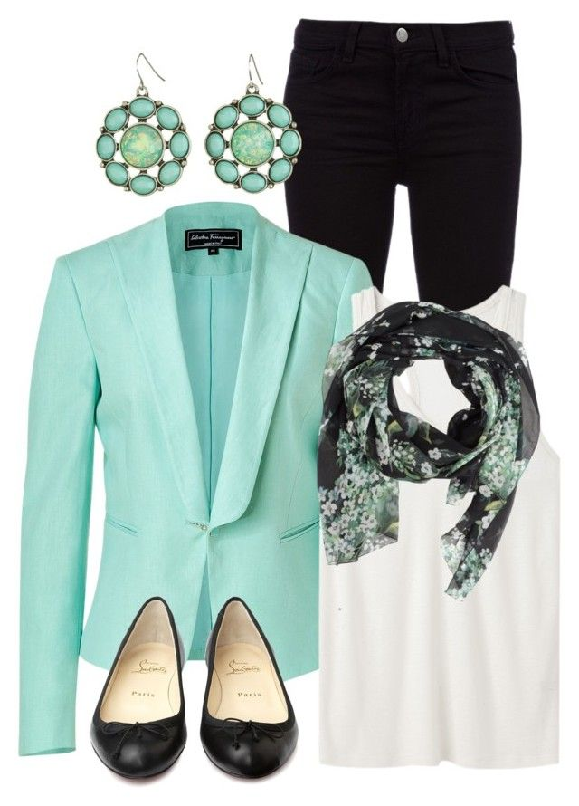 """Turquoise Blazer"" by qtpiekelso ❤ liked on Polyvore featuring J Brand, Salvatore Ferragamo, T By Alexander Wang, Dolce&Gabbana and Christian Louboutin"