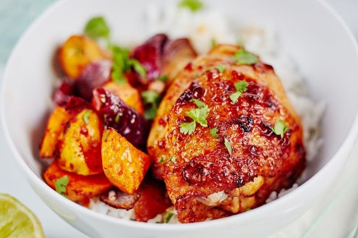 Sheet Pan Honey-Chipotle Chicken and Sweet Potatoes. This is one of your new favorite QUICK and EASY Weeknight Dinner Recipes. Marinade the chicken overnight and then the this meal only takes 30 minutes to make. Chicken thighs, red onion, cilantro, honey, chiles in adobo.