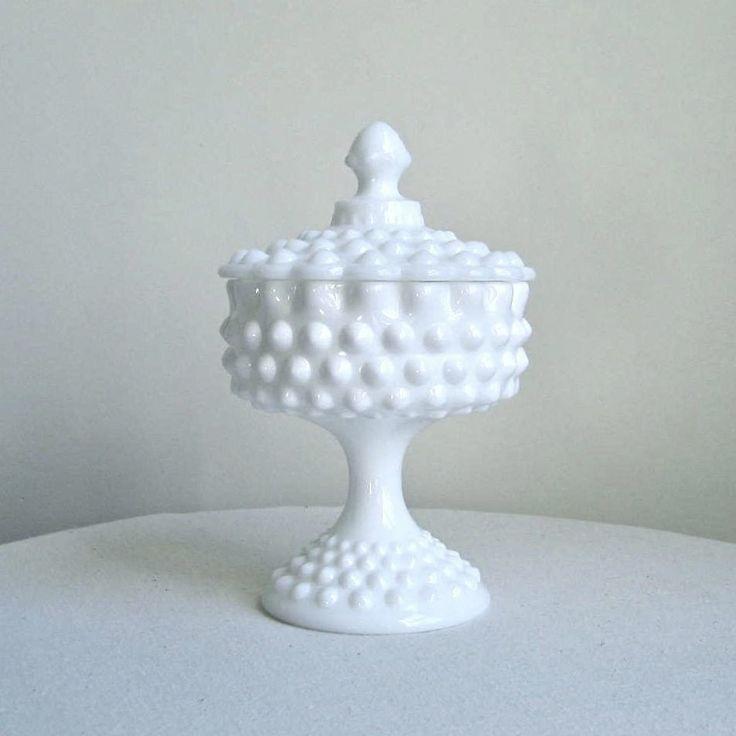 Fenton Milk Glass Pedestal Bowl 8 inch Hobnail