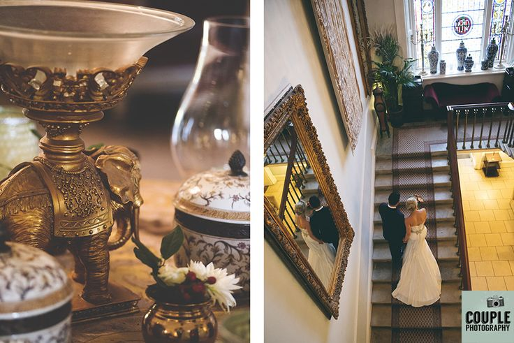 The bride & groom on the epic staircase at Durrow. Weddings at Durrow Castle photographed by Couple Photography.