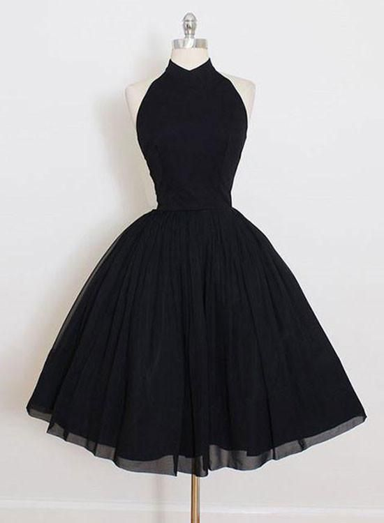 Cute A line short black prom dresses, homecoming dress